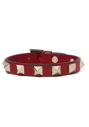 Valentino - Valentino Garavani The Rockstud Leather Bracelet - Red