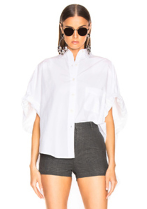 R13 Oversized Rolled Sleeve Shirt in White