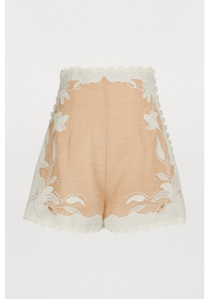 Corsage linen and silk shorts