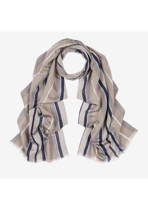 Bally Vertical Stripe Scarf Grey, Men's silk and viscose blend scarf in multi-grey