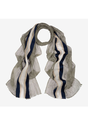 Bally Linen Blend Stripe Scarf Multicolor, Men's linen and cotton blend scarf in multi-military