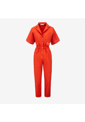 Bally Nastro Jacquard Jumpsuit Red, Women's cotton and silk blend jumpsuit in papavero