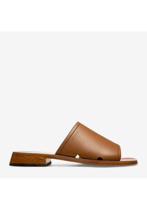 Bally Ofera Brown, Women's calf leather slide sandal in cowboy