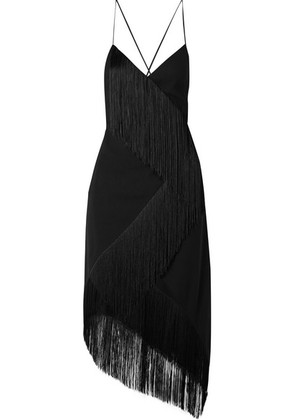 Givenchy - Asymmetric Fringed Wool-crepe Wrap-effect Midi Dress - Black