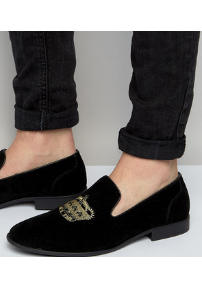 ASOS Wide Fit Loafers In Black Faux Suede With Crown Embroidery - Black