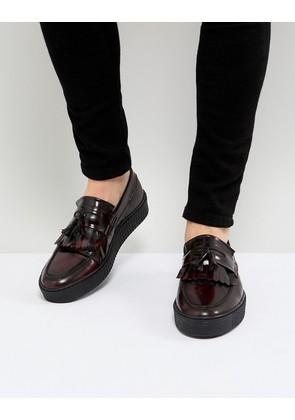 ASOS Loafers In Burgundy Leather With Creeper Sole - Burgundy