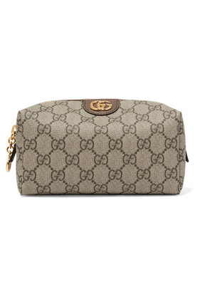 Gucci - Ophidia Medium Textured Leather-trimmed Printed Coated-canvas Cosmetics Case - Beige