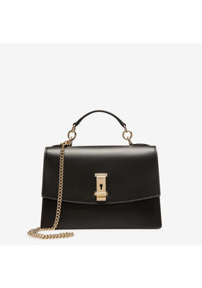 Bally Lyla Black, Women's plain calf leather small top handle bag in black