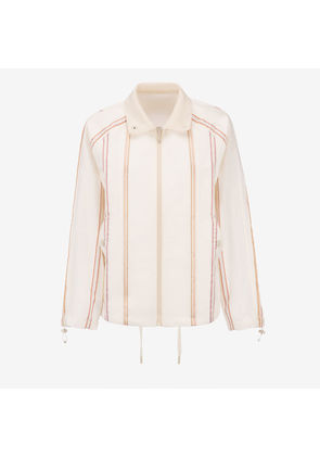Bally Striped Satin Jacket White, Women's cotton satin jacket in bone