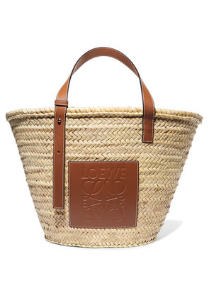 Loewe - Large Leather-trimmed Woven Raffia Tote - Tan