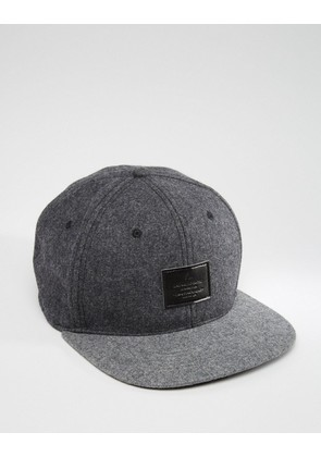 ASOS Snapback Cap In Grey Melton - Grey