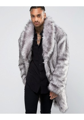 ASOS Faux Fur Overcoat - Grey