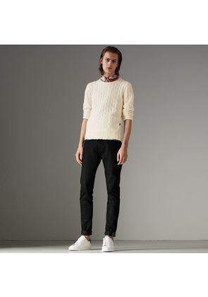 Burberry Cable Knit Cotton Cashmere Sweater, White