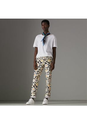 Burberry Daisy Print Cotton Tailored Trousers, Black