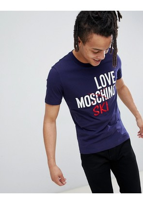 Love Moschino t-shirt with ski logo in blue