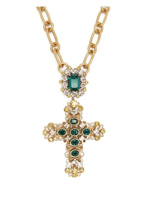 Dolce & Gabbana - Crystal Embellished Cross Necklace - Womens - Gold