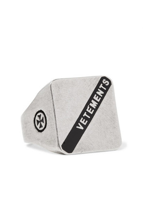 Vetements - Logo-embossed Burnished Silver-tone Ring - Silver