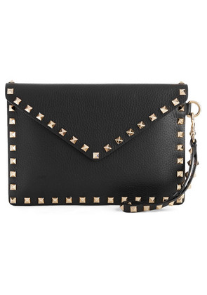 Valentino - Valentino Garavani The Rockstud Textured-leather Pouch - Black