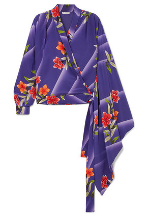 Balenciaga - Floral-print Silk-crepon Wrap Top - Purple