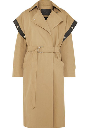 Givenchy - Belted Leather-trimmed Cotton And Linen-blend Trench Coat - Beige