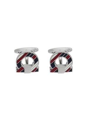 Salvatore Ferragamo striped Gancio cufflinks - Silver