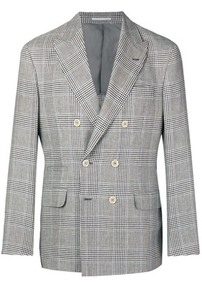 Brunello Cucinelli double breasted plaid jacket - Brown