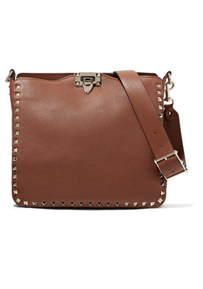 Valentino - Valentino Garavani The Rockstud Hobo Small Textured-leather Shoulder Bag - Brown