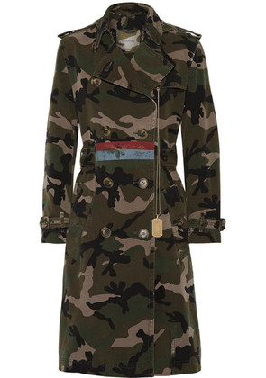 Valentino - Embellished Camouflage-print Cotton-canvas Trench Coat - Army green