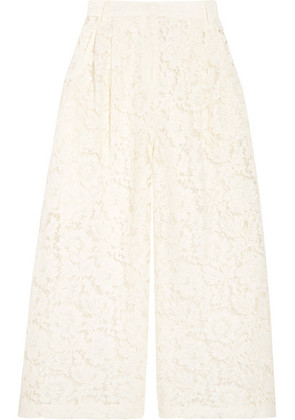 Valentino - Cropped Corded Cotton-blend Guipure Lace Wide-leg Pants - Ivory