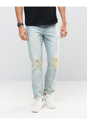 ASOS Stretch Slim Jeans With Knee Rips In Bleach Blue - Bleach blue