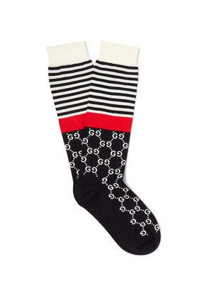 Gucci - Striped Logo-jacquard Stretch Cotton-blend Socks - Black