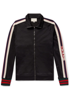 Gucci - Webbing-trimmed Tech-jersey Track Jacket - Black