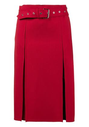 Helmut Lang Midi Skirt with Front Splits - Red