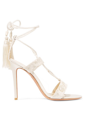 Etro - Embroidered Lace And Satin Sandals - Ivory
