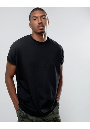 ASOS Super Oversized Longline T-Shirt With Roll Sleeve In Black - Black