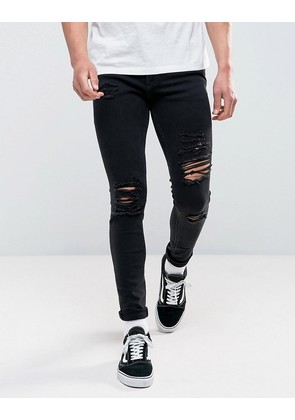 Jack & Jones Intelligence Jeans In Skinny Fit Ripped Black Denim