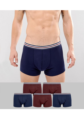 ASOS Trunks In Navy With Stripe Waistband 5 Pack SAVE - Multi