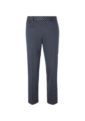 Gucci - Navy Caspian Cropped Logo-jacquard Cotton Trousers - Navy
