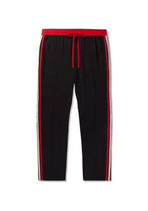 Gucci - Tapered Logo Webbing-trimmed Woven Drawstring Trousers - Black