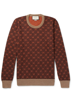 Gucci - Logo-intarsia Wool And Alpaca-blend Sweater - Brown