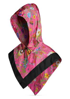 Gucci Nylon hood with Flora print - Pink