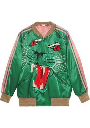 Gucci Bomber jacket with panther face - Green