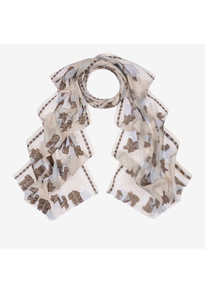 Bally Fil-Coupé Edelweiss Scarf Multicolor, Women's cotton jacquard scarf in multi-bone