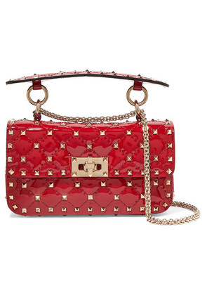 Valentino - Valentino Garavani The Rockstud Spike Small Quilted Patent-leather Shoulder Bag - Red