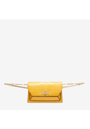 Bally Sofy Orange, Women's croc embossed calf leather bag in gold sand
