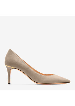 Bally Evony Grey, Women's kid suede pump with 70mm heel in wheat