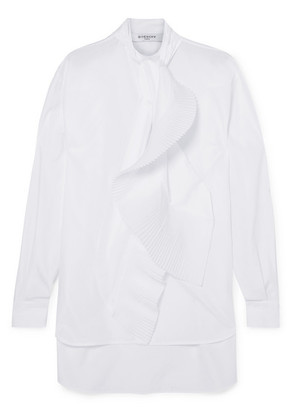 Givenchy - Pleated Tie-neck Cotton-poplin Shirt - White