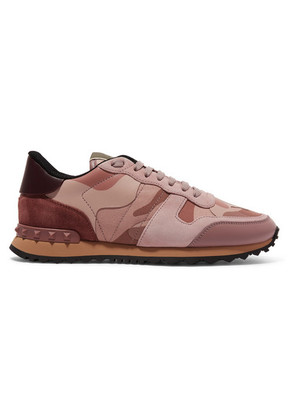 Valentino - Valentino Garavani Leather And Suede-trimmed Camouflage-print Canvas Sneakers - Baby pink