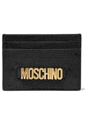 Moschino Woman Embellished Textured-leather Cardholder Black Size -