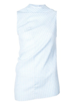 Jil Sander checked tank top - Blue